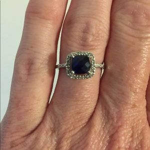 Sterling silver sapphire ring. Size 7.